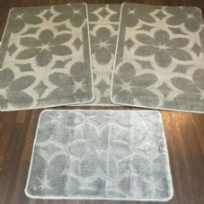 ROMANY GYPSY WASHABLE SETS OF TOURER SIZE 67X110CM MATS-RUGS NEW FLOWER SILVER